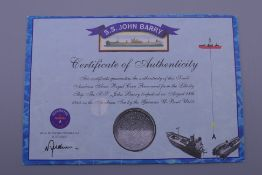 A Saudi Arabian silver Riyal coin recovered from the Liberty ship the SS John Barry.