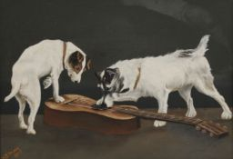 W B VOLANS, Terriers and a Guitar, oil on board, signed and dated 1907, framed. 37 x 26 cm.