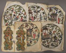 A quantity of late 19th/early 20th century Chinese embroideries. Oval panels 23 x 21.