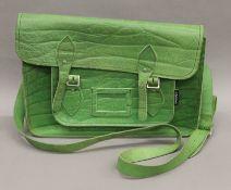 A green leather Zatchels handbag.