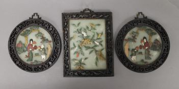 Three Chinese jade, hardstone, ivory and mother-of-pearl plaques. The largest 19 cm high.