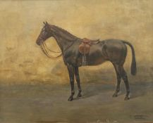 THOMAS IVESTER LLOYD (1873-1942) British, A Portrait of a Dark Bay Hunter in a Stable,