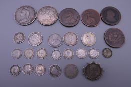 A collection of silver and Georgian cartwheel coins. 80 grammes of silver.