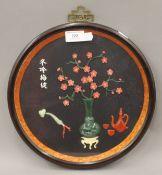 A Thai box framed flowering vase. 30.5 cm diameter.