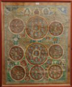 A large antique 18th/19th century hand painted Tibetan Thanka, framed and glazed.