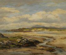 ROBERT EGGINTON (born 1943) Irish, Skye from the Sands of Morar, oil on board, signed, framed.