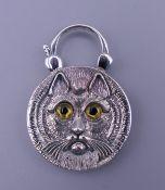 A silver cat form padlock. 3.75 cm high.