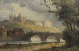 ENGLISH SCHOOL, Richmond Castle from the River, oil on canvas, framed. 59 x 39 cm.