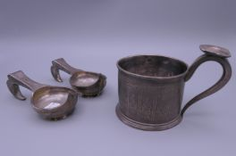 A Russian silver cup (121.4 grammes) and two Russian silver plated kovschs. Cup 8.