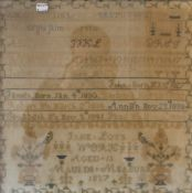 A Victorian family sampler worked by Jane Loys, aged 13, dated 1857, framed and glazed.