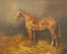 THOMAS IVESTER LLOYD (1873-1942) British, A Portrait of a Chestnut Hunter in a Stable,