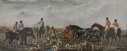 A pair of hunting prints, each framed and glazed. 24.5 x 10 cm.