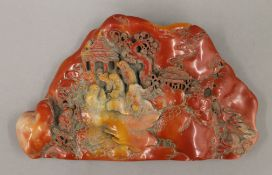 An ornamental Chinese Mountainous Scene. 25 cm wide.