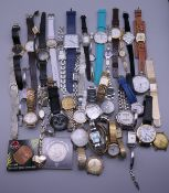 A box of various wristwatches, etc.