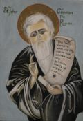 A painted religious icon. 15.5 x 22.5 cm.