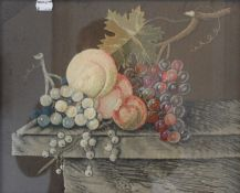A 19th century embroidered Still Life of Fruit, framed and glazed. 44 x 36.5 cm overall.