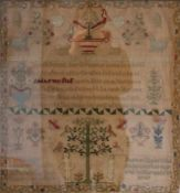 A framed Victorian sampler worked by M Williams, aged 10 years, dated June 1866, framed and glazed.