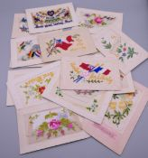 Seventeen World War I embroidered silk postcards including some with note cards.