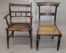 A 19th century elm seated open armchair and a cane seated chair. The former 54 cm wide.