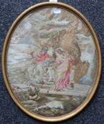 An early 19th century religious embroidered silk work picture; together with another similar,