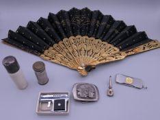 A quantity of items, including a fan, buckle, etc. Fan 24.5 cm long.