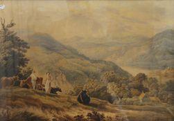 ENGLISH SCHOOL (19th century), Welsh Mountainous Farmland, watercolour, framed and glazed. 70.