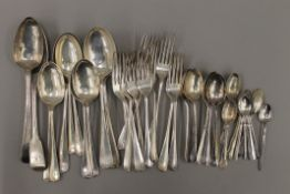 A quantity of silver cutlery. 1554.8 grammes.