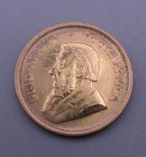 A 1/10 Krugerrand coin, dated 1984. 3.4 grammes.