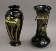 Two Japanese lacquered bronze vases. The largest 31 cm high.