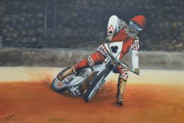 Speedway Rider, oil on board, indistinctly signed, framed. 74 x 48.5 cm.