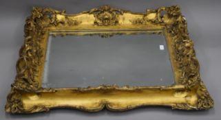 A large 19th century gilt framed mirror. 87 x 104 cm.