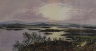 E LEWIS, Scottish Loch Scene, possibly Loch Lomond, watercolour, signed, framed and glazed.