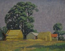 WILLIAM H MAILE (20th century) British, Two Stacks, oil on board, signed, framed. 37 x 30 cm.