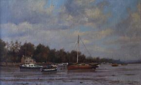 JAMES WRIGHT, Estuary Scene, oil on canvas, signed, framed. 39 x 24 cm.
