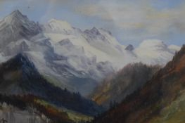 Mountainous Landscape, oil on board, signed with initials M.F, framed and glazed. 36 x 24 cm.