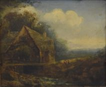 JAMES STARK (1794-1859) British, Figures Before a Country Cottage, oil on panel,