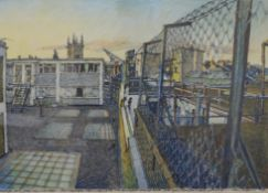 JOHN HARRIS, Cambridge Skyline, pen and watercolour, signed and dated '78, framed and glazed.