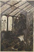 GILLIAN WHAITE (1934-2012) British (AR), Gloxinia in a Glasshouse, linocut, artist's proof 1/5,