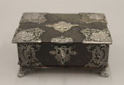 A Victorian silver mounted tortoiseshell box. 15 cm wide.