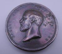 A Victorian bronze 1872 Prince of Wales medallion. 5.75 cm diameter.
