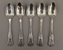Five Queens pattern teaspoons by Glasgow makers McKell/Coghill, 19th century.