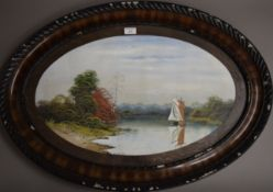 GEORGE COPELAND, Boats on a River, a pair of watercolours, framed and glazed. 85 cm wide overall.
