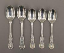 Five Queens pattern teaspoons by London makers George Adams, mid-19th century.