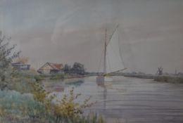 WILLIAM EDWARD MAYES, Broadland Scene, watercolour, signed and dated 1937, framed and glazed.