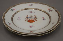 A pair of 19th century Chinese porcelain Armorial plates. Each 23 cm diameter.
