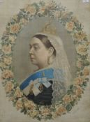 A print of Queen Victoria, framed and glazed and an oil on canvas. The former 62.5 x 84.5 cm.