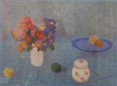 BERNARD MYERS (1925-2007) British, Still Life of Flowers and Fruit, print, artists copy,
