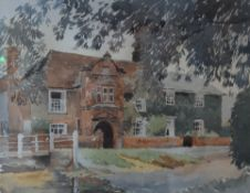 R G MARTIN, Old River House, Kersey, watercolour, signed, inscribed to reserve, framed and glazed.