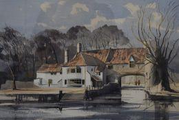 GRAHAM HOWLETT (20th century) British, Riverside House, watercolour, signed, framed and glazed. 53.