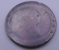 A George III cartwheel counter stamped penny.